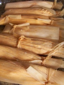 Tamales prepared for steaming