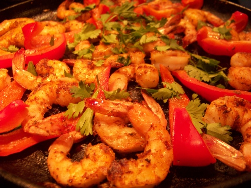shrimp, red bell peppers, cilantro, lime juice