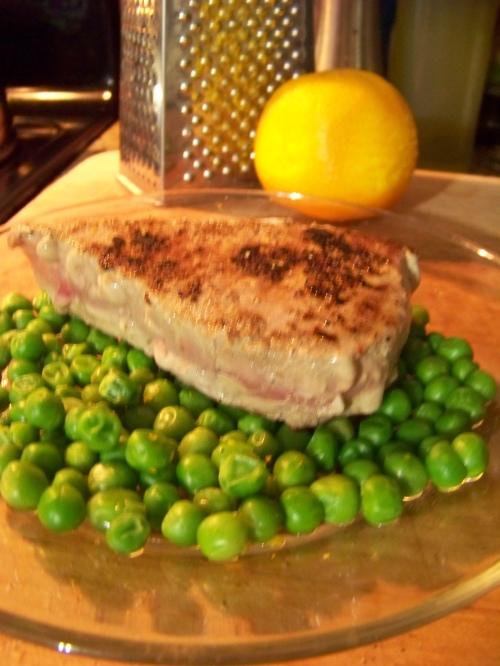 Tuna Steak and Orange Peas