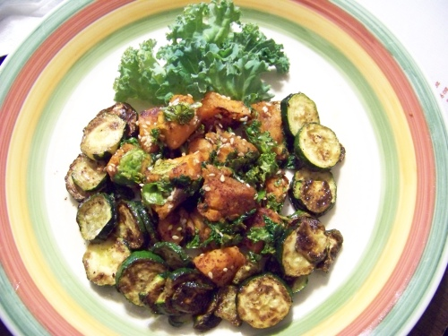 spicy sweet potato kale