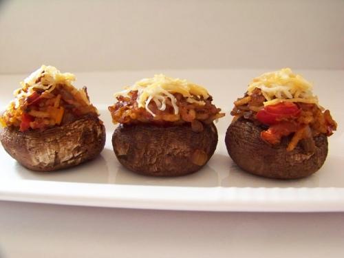 peruvian spiced stuffed mushrooms